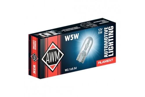 Лампа накаливания AWM W5W 12V 5W ( W2.1x9,5d) комплект 10 шт