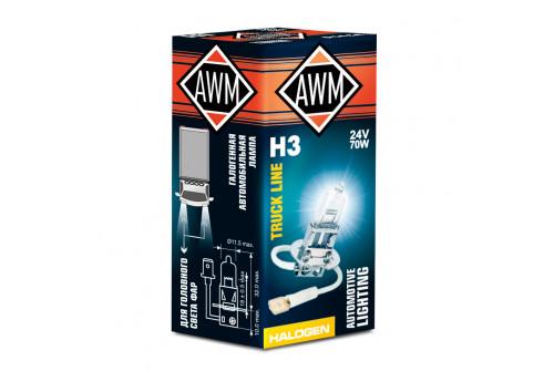 Лампа галогеновая AWM H3 24V 70W  (PK22S)