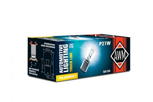 Лампа накаливания AWM P21W 24V 21W (BA15S)  комплект 10шт