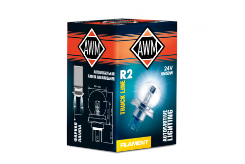 Лампа накаливания AWM R2 24V 55W/50W (P45T)