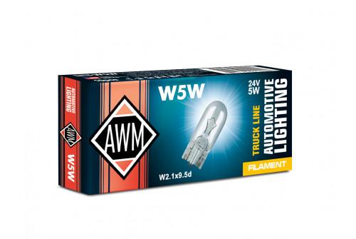 Лампа накаливания AWM W5W 24V 5W ( W2.1x9,5d) комплект 10 шт
